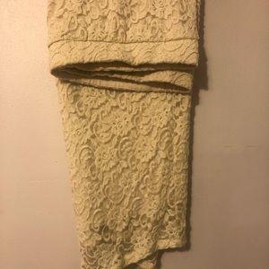 Torrid cream lace pencil skirt